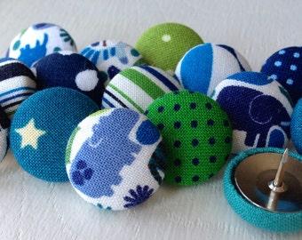 Thumbtacks,15 Pushpins,Thumb Tacks,Push Pins,Teacher Gift,Home Decor,Office Decor,Small Gift,Blue and Green,Jungle Animals,Bulletin Board