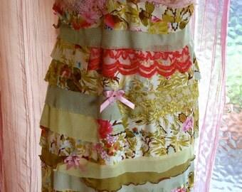 Womens Tra La Bohemian Wearable Art slip Dress Romantic Flapper petticoat Vintage  Style Shabby Chic