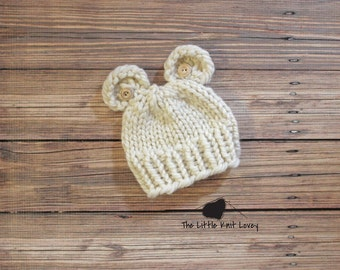 Little Bear Knit Hat with Buttons for Baby, Beautiful Photography Prop and Ready to Ship