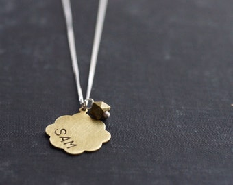 Stamped Brass Pendant on Sterling Silver Chain with Accent