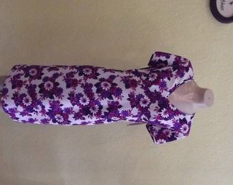1970s Purple Floral Day Dress Size Large 12/14,      Item 27524