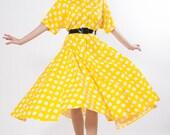 80s does 50s Dress - 1950s Style Dress - Yellow Polka Dot Circle Skirt