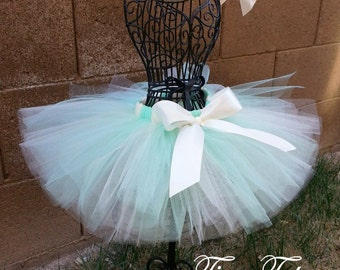 MINT and CREAM- Mint and Ivory tutu with hairbow:  Newborn-5T