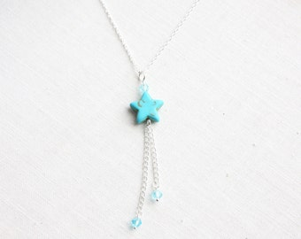 Turquoise Necklace Shooting Star Necklace Sterling Silver Chain Tassel Necklace Wire wrapped Crystal Dainty Jewelry Everyday Jewelry Gift