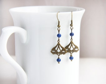 Blue Lapis Lazuly Earrings Art Nouveau Jewelry Dangle Earrings Wire Wrapped Drop Earrings Now offering in Brass or Copper jewelry trend 2017