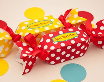 Sweet Dots Favor Box - DIY Printable Wrapped Candy Shaped Box PDF