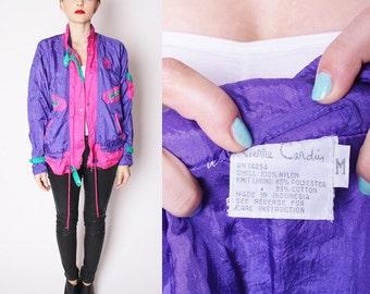 Vintage Designer Pierre Cardin Color Block Purple Teal and Fuchsia Windbreaker / Jacket / Coat / 1990s Jacket / 1728