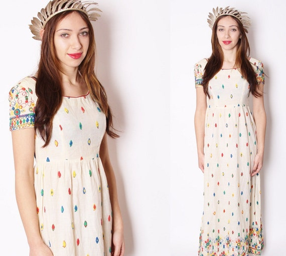 Vintage 1960s  Rainbow Embroidered Ethnic South West Maxi Alternative Wedding Dress / Dress / Dresses / Alternative Wedding / 1353