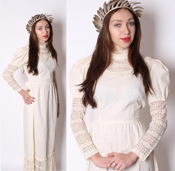 Victorian Dress / Dress / Dresses / ecru / Wedding Dress / 1970s Dress / Crochet Dress / Lace Dress / Edwardian Dress / 0984