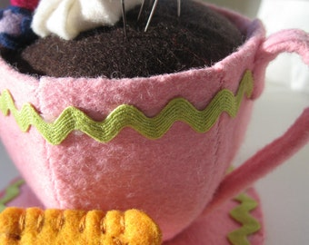 felt food teacup pincushion with cookies & saucer in adorable gift box