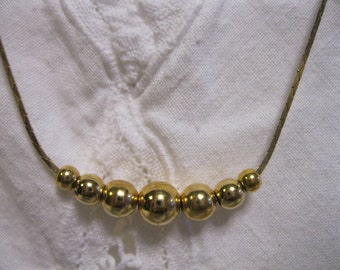 Vintage Gold Balls Necklace Gold Plate Jewelry