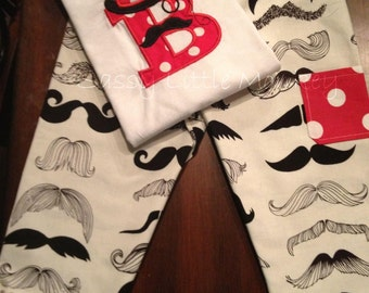Infant Toddler Boys Mustache Outfit Shirt & Pant 2 piece set 0m to 5t