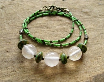 Green & White Fluorite Necklace, rustic white fluorite crystal sphere and leaf green howlite beaded Bohemian jewelry