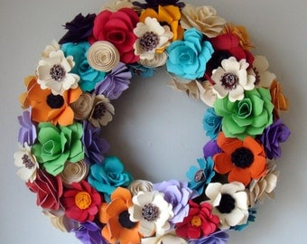 Wreath Assorted Paper Roses Order Yours Today...Great Gift