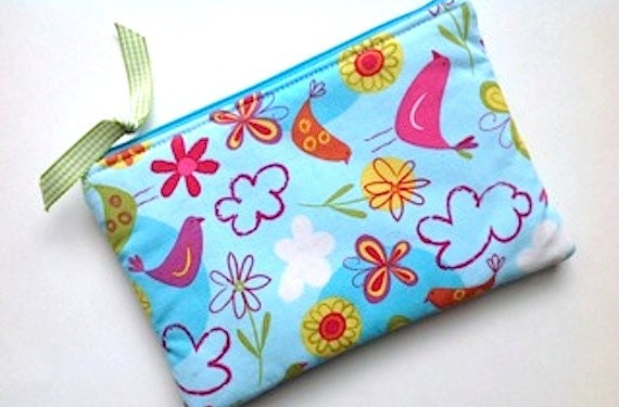 SALE-Large Zip Pouch Purse coin Gadget  Case -Padded -FLY AWAY- Birds butterflies flowers- turq pink yell