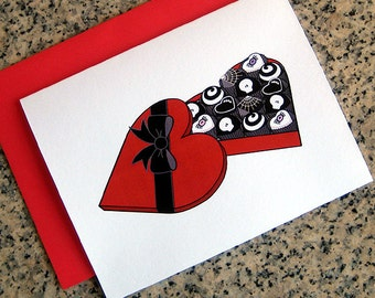 death by chocolate candy heart box valentines / notecards / thank you notes (blank or custom inside) with red envelopes - set of 10