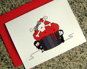 girl and boy vampire skull cupcake notecards / thank you notes (blank or custom printed inside) with red envelopes - set of 10