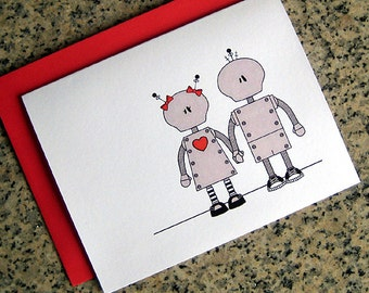 robot couple in love holding hands valentines / notecards / thank you notes (blank or custom inside) with red envelopes - set of 10
