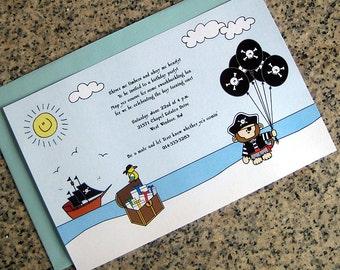 monkey pirate full sized fully custom birthday costume halloween party invitations with envelopes - set of 10