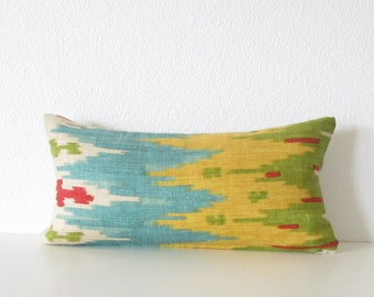 Colorful Mini Lumbar - Red - Green - Turquoise - Ikat Pillow - 8x16 pillow cover
