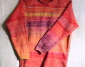 Chili Pepper Mens M, Womens L unisex weekend sweater knit with hombre stripes in cotton and kid mohair