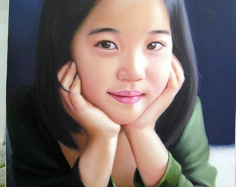 Child portrait paintings, large oil painting on canvas. 100% money-back guarantee