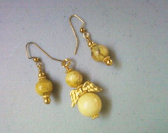 Yellow Howlite Angel Pendant and Earrings (0605)