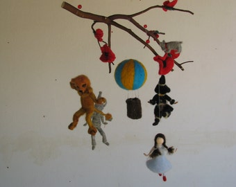 Needle felted mobile Wizard of oz Waldorf inspired Nursery Crib decoration