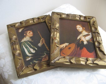SALE Vintage Gold Carved Wood Frames With Musicians Portrait Wall Art Prints Set of 2, Medieval Old World, Man Scepter Woman Mandolin