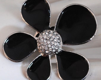 Funky Flower Ring/Contemporary/Black/Gift For Her/Spring Jewelry/Rhinestone/Under 20 USD/Adjustable