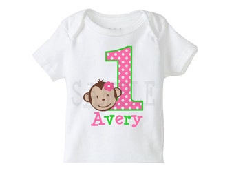 Monkey Birthday shirt, Personalized Shirt, Girls Birthday Shirt, Monkey Birthday Party Shirt, Girls 1st Birthday Shirt, The Trendy Butterfly