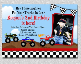 Monster Truck Birthday Invitation ,  Truck Birthday Party Invitation Printable