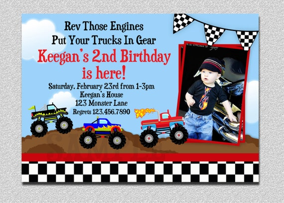 monster truck birthday invitation , truck birthday party, Birthday invitations
