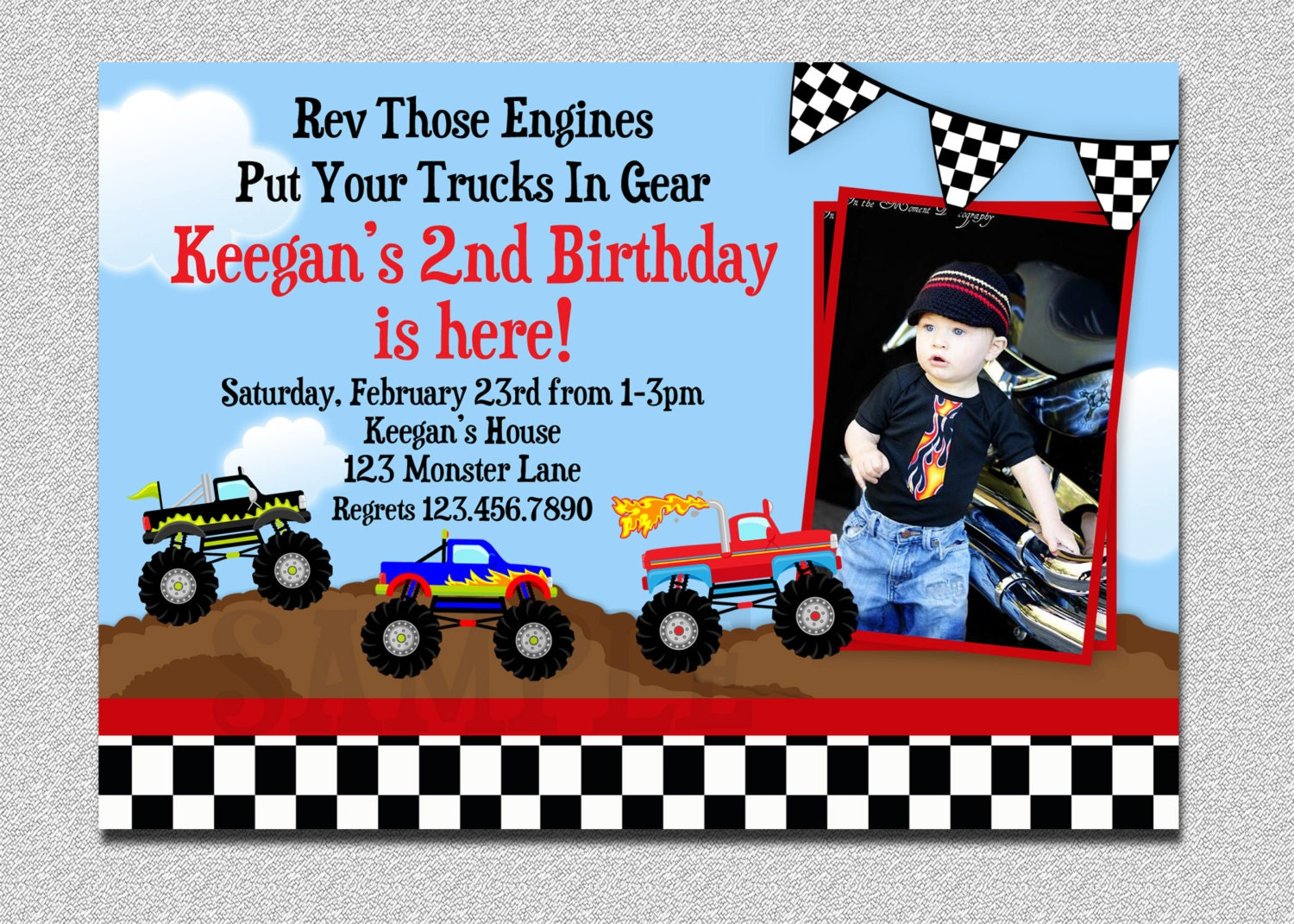 monster truck birthday invitation truck birthday party, Party invitations