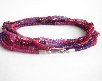 Opera Strand - Ruby Garnet Amethyst Necklace - Colorful Gemstone Necklace - Red Pink Purple Gemstone Bead Strand - 70 inch long bead strand
