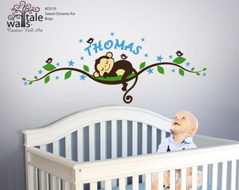 Boy Monkey wall decal with stars tree branch with name,birds for nursery, kids room.