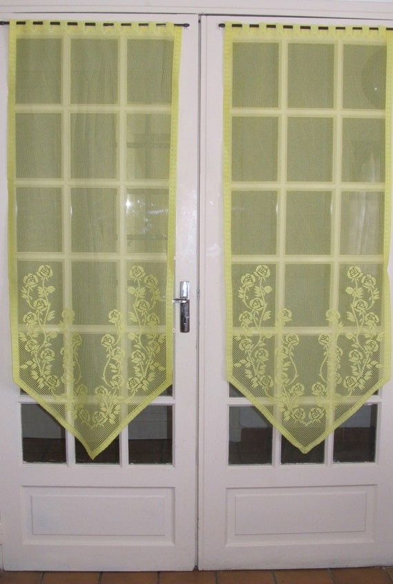 Lemon French Door Lace Curtains Yellow Sheer By