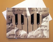 Art Greeting Card  - Created from Original ACEO drawing for Charity - Blank Notecard - 4x6 - Sheet Music heart piano  - Day 354