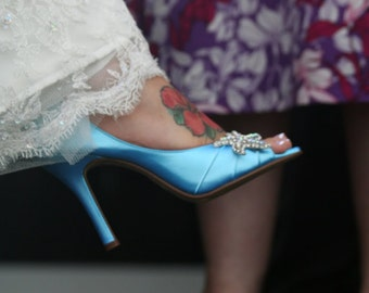 Beach Wedding Shoe - Starfish - Destination Wedding - Blue Wedding Shoes - Choose From Over 100 Colors - Blue Shoes - Peep Toe - High Heel