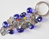 Butterfly Key Chain Handmade Blue Evil Eye Silver Plated