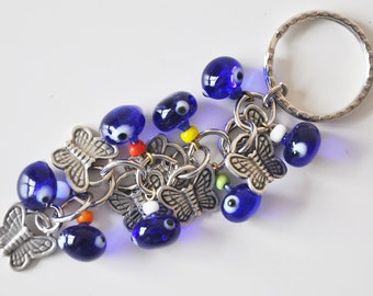 Butterfly Key Chain Handmade Blue Evil Eye Silver Plated