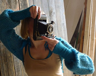 Turquoise Crochet Bolero Shrug - Mohair, Upcycled Silk - Long Sleeve, Billow Sleeve - Aqua, Teal, Women Fashion Clothing Nymph Fairy Psy