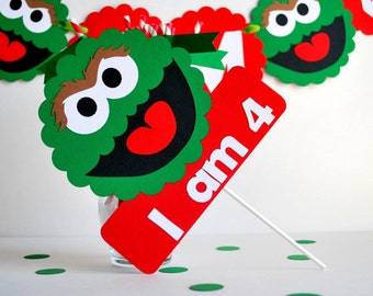 Oscar the grouch Centerpiece, I am age personalized age or name Centerpiece A536