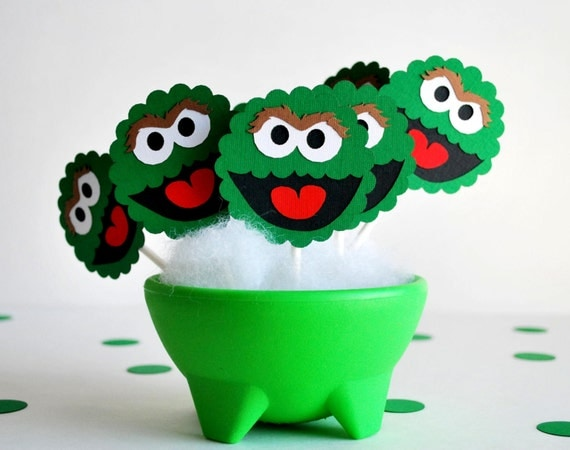 Oscar the grouch Cupcake Toppers, Die cut layered Oscar the grouch Cupcake toppers  A537