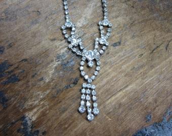 1960s Rhinestone Necklace.  Princess Necklace . Hollywood Glam