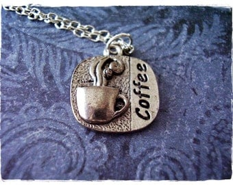 Silver Coffee Necklace - Antique Pewter Coffee Charm on a Delicate 18 Inch Silver Plated Cable Chain