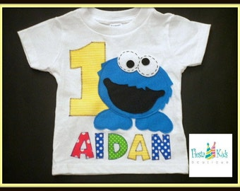 SAMPLE SALE, Cookie Monster shirt with AIDAN name, age 1, 18M size, sesame street theme, boy cake smash, ready to ship, 1 available
