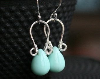 Mint green drop earrings, Czech glass drop, aqua, robin's egg blue, dangle, wire wrapped, simple, Mimi Michele Jewelry
