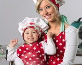 Mommy and Me Chef Hats made to order red and white Polka dot -mint rick rack- matching- Grandma and Me- photo shoots