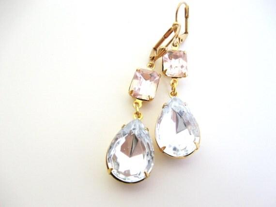 Rosaline Crystal Earrings in Gold - Estate Jewelry - Wedding Bridal Earrings